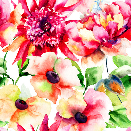 Seamless wallpapers with Beautiful Pink flower, Watercolor painting  photo