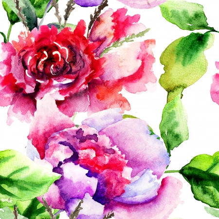 Seamless pattern with Peonies flowers, Watercolor painting  photo