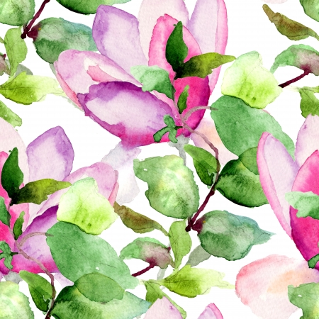 Seamless pattern with Magnolia, watercolor illustration