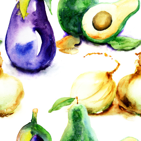 Seamless pattern with vegetables, Watercolor illustration illustration