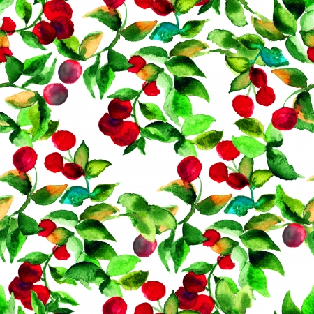foxberry: Seamless pattern with red berry, watercolor illustration Stock Photo