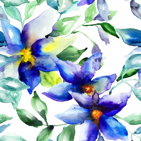 Seamless wallpaper with Summer flower, watercolor illustration