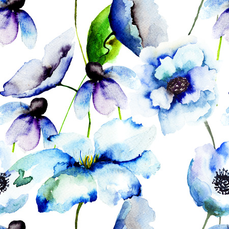 Beautiful Blue flowers, Watercolor painting, seamless pattern  Stock Photo