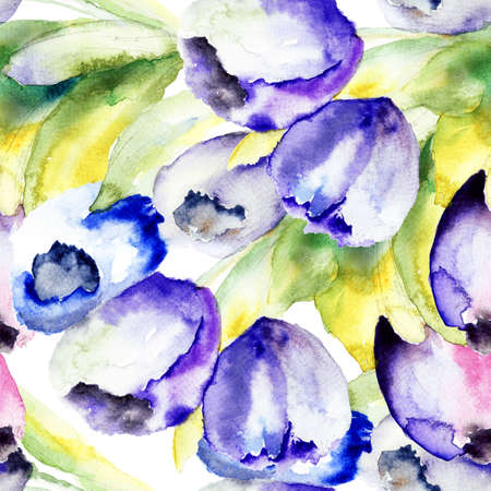 early spring: Spring Tulips flowers watercolor illustration, seamless pattern