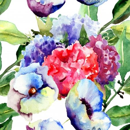 Beautiful summer flowers, seamless pattern, watercolor illustration illustration