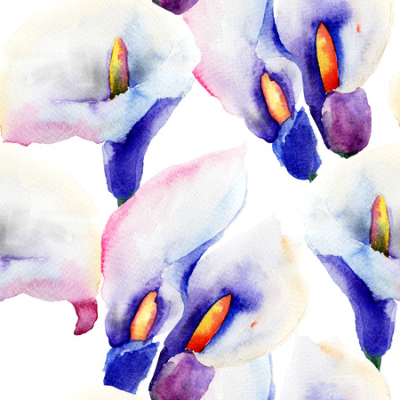 calla lily: Seamless pattern with Calla Lily flowers, watercolor illustration
