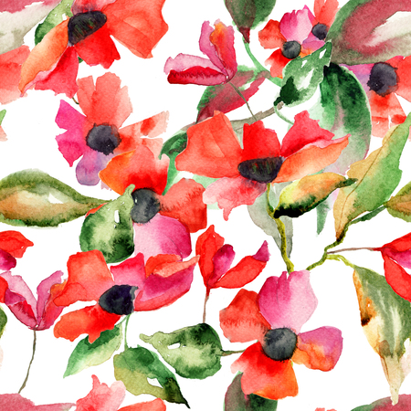 poppy flowers: Watercolor illustration with Poppy flowers, seamless pattern