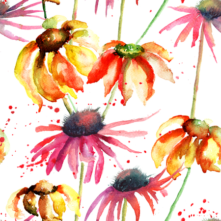 Seamless pattern with Summer flowers, watercolor flowers  photo