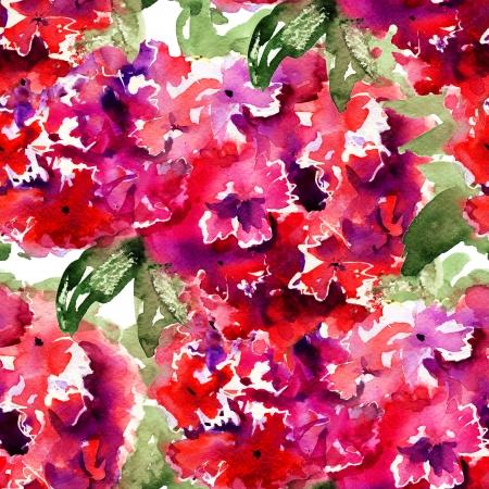 botanika: Bezešvé tapety s krásnými červenými květy hortenzie, akvarel ilustrace