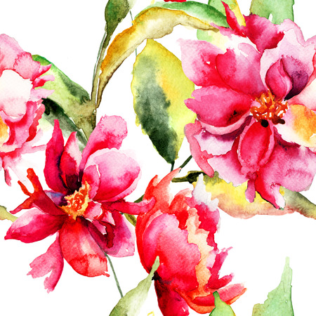 Seamless wallpaper with Colorful peony flower, watercolor illustration  illustration