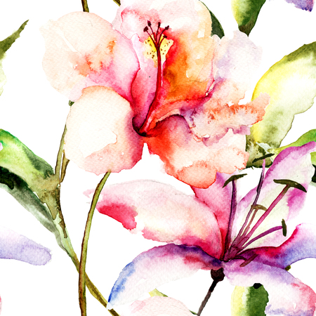 flower structure: Seamless wallpaper with Lily flowers, watercolor illustration  Stock Photo