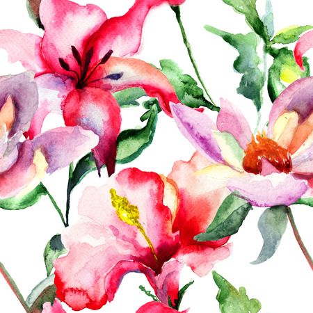 Seamless wallpaper with Red Lily flowers, watercolor illustration