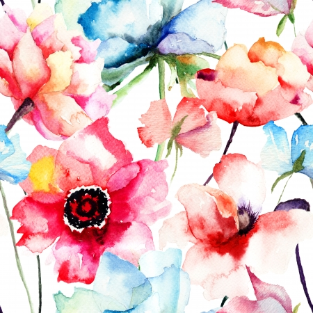 Seamless pattern with Decorative blue flower, watercolor illustration
