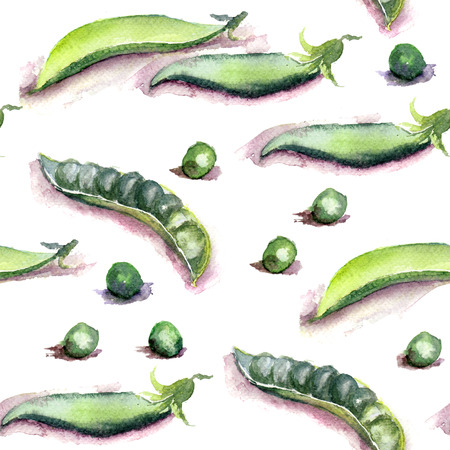Fresh green peas, watercolor illustration, seamless pattern illustration