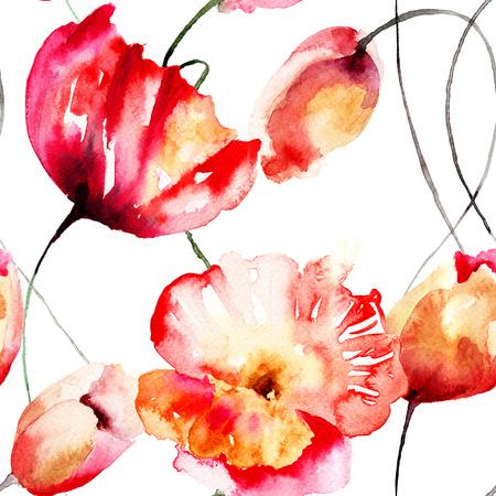 チューリップやポピーの花、水彩イラストとのシームレスなパターン
