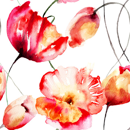 Seamless pattern with Tulips and Poppy flowers, watercolor illustration