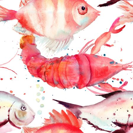 toy fish: Watercolor illustration of lobster and fish, seamless pattern