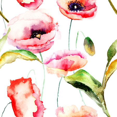Watercolor illustration of Poppy flowers, seamless background  illustration