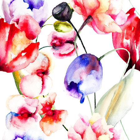 Colorful summer flowers, seamless pattern, watercolor illustration  illustration