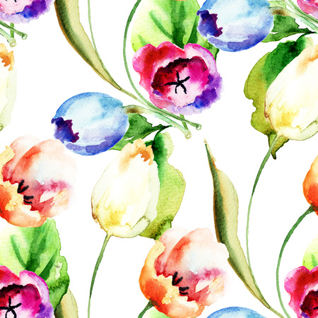 tulips: Seamless pattern with Tulips flowers, watercolor illustration