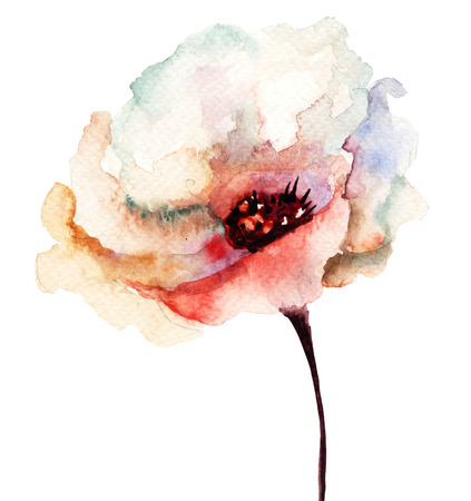 Decorative flower, watercolor illustration