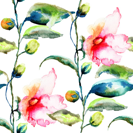 convolvulus: Seamless pattern with Ipomea flowers illustration, watercolor painting