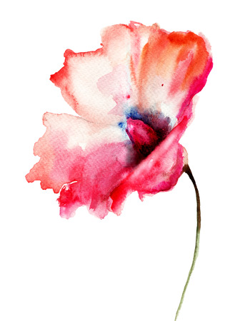 Decorative red flower, watercolor illustration