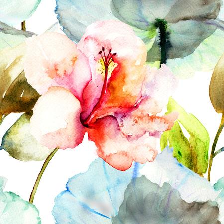 Seamless avec Hibiscus fleur, peinture à l'aquarelle Banque d'images