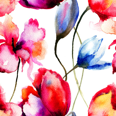 Original watercolor illustration with flowers, seamless pattern illustration