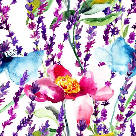 Naadloos patroon met wilde bloemen, aquarel illustratie