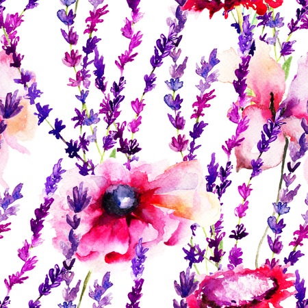 Seamless pattern with wild flowers, watercolor illustration