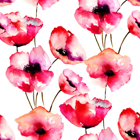 Seamless pattern with Red Poppy flowers, watercolor illustration