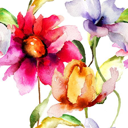 Seamless wallpapers with summer flowers, watercolor illustration  illustration