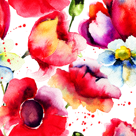 fabric painting: Colorful summer seamless pattern, watercolor illustration