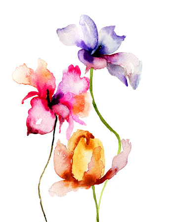 Original Summer flowers, watercolor illustration Stok Fotoğraf