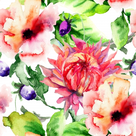 Seamless wallpaper with Stylized flower, watercolor illustration Stock Photo