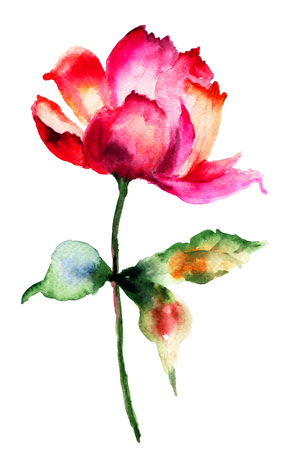 paintings: Decorative red flower, watercolor illustration