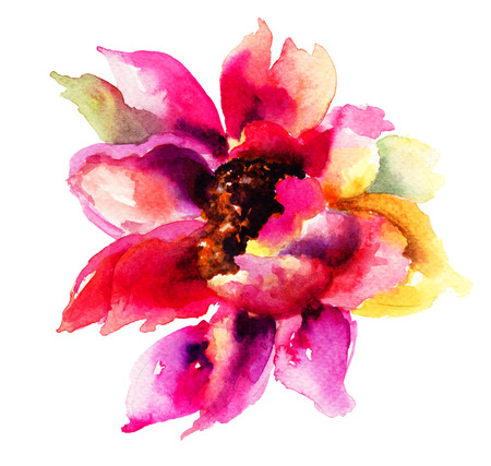 Beautiful Pink flower, Watercolor painting  Stock Photo