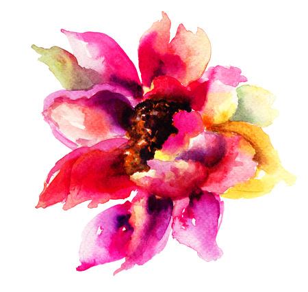 Mooie roze bloemen, aquarel schilderen