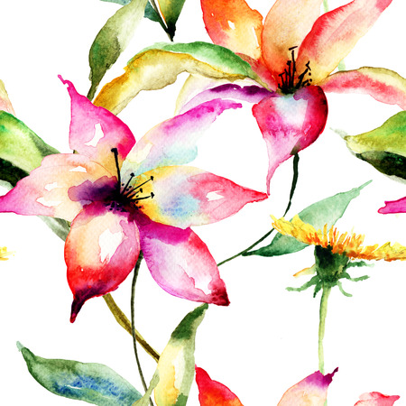 Seamless wallpapers with Lily flowers photo