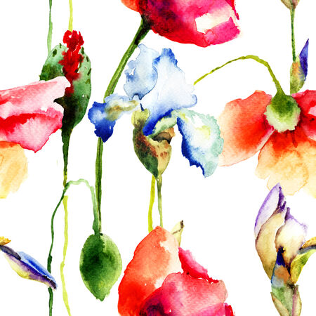 Seamless wallpaper with Iris and Poppy flowers, watercolor illustration illustration