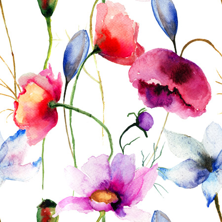 Seamless wallpaper with wild flowers, watercolor illustration  Stock Photo