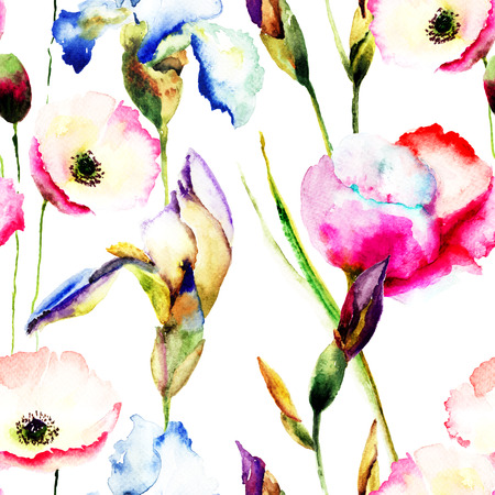 Seamless pattern with wild flowers, Watercolor painting photo