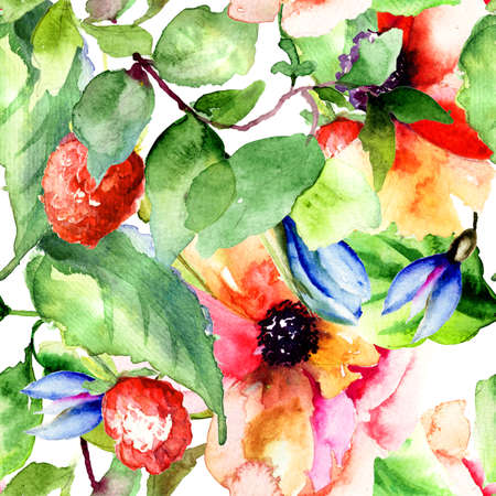 Seamless pattern with Raspberry and flowers, watercolor illustration  illustration