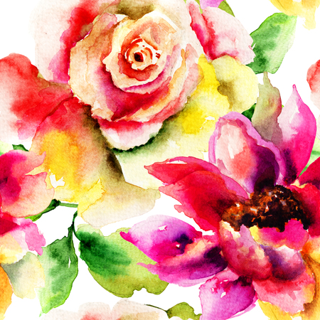 fabric painting: Seamless pattern with Summer flowers, watercolor illustration