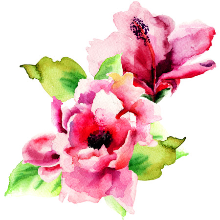Original Summer flowers, watercolor illustration  Archivio Fotografico