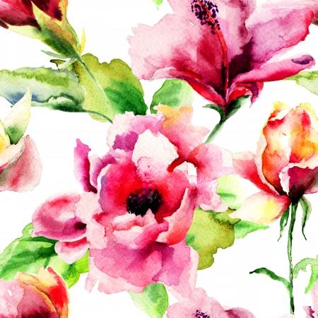 flower patterns: Naadloos patroon met Originele Zomerbloemen, aquarel illustratie
