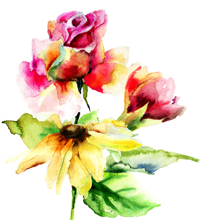 Original flowers, watercolor illustration  illustration