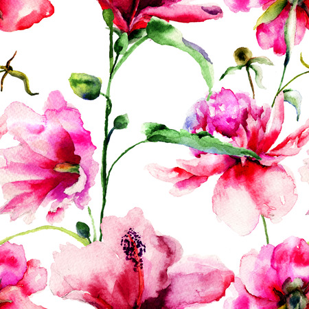 Ipomea と牡丹の花イラスト、水彩画のシームレス パターン