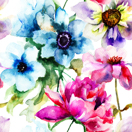Bloemen naadloos patroon, aquarel illustratie